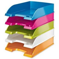 Captivating Leitz Plus WOW Letter Tray Stackable Glossy W245xD380xH70mm Metallic Pink  Ref 52263023 Green Office, City