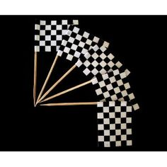 Zahnstocher : Karo schwarz/weiß / Zielflagge 50er Packung