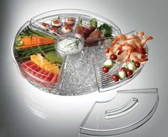 Appetizers On Ice Serving Tray...  perfect for outdoor entertaining ~ keeps things chilled and protected from insects