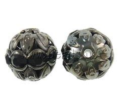 Hollow Brass Beads, Round, plumbum black color plated, with rhinestone, nickel, lead & cadmium free***1шт=0,062/0,05