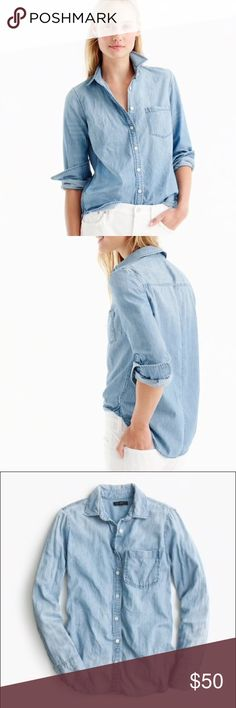 J. Crew • Petite always chambray shirt J. Crew chambray button down cotton shirt in indigo. Breast pocket. White buttons. Size 2P. EUC. J. Crew Tops Button Down Shirts
