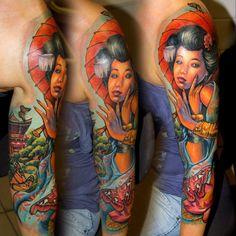 tatuajes de geishas en el brazo