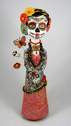 SURVIVOR CATRINA - ©2013 Lorena Angulo  - Creative PaperClay, Acrylics, Watercolors, Wire, Red Coral, Bronze. 18.5 inches tall