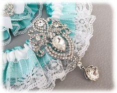 Something Blue Garter Set Aqua Blue Bridal Garter by GarterQueen