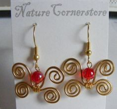 Golden Red Butterfly Earrings one pair | NatureCornerstore - Jewelry on ArtFire