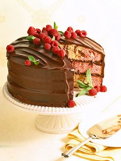 Marbled Chocolate-Raspberry Cake