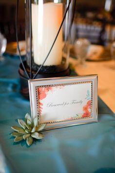 orange & teal wedding | succulent centerpiece | hurricane | Florist: The Moss & Rose