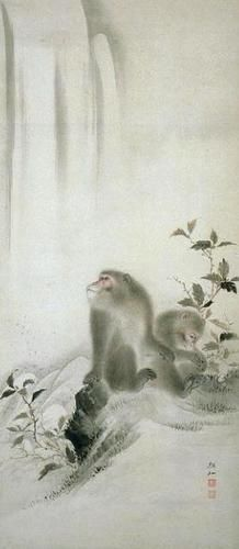 Mori Sosen - 2 Monkeys Sumi E Painting, Chinese Painting, Chinese Art, Drawing Animals, Animal Drawings, Year Of The Monkey, Korean Art, Creature Feature, Japanese Prints