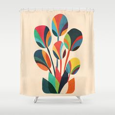 Ikebana - Geometric flower  Shower Curtain