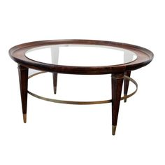 Vintage Coffee Table in Wood, Glass and Brass