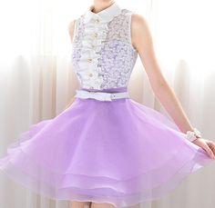 Purple petal collar sleeveless lace shirt tailor Anza pettiskirt_Dinner dresses_Dinner Dresses_Mili fashion Trade Co.Ltd