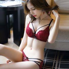 4f50592a99486 JYF Hot sale sexy hollow women underwear sets embroidery Deep V lace bra set  padded sponge