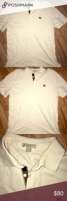 Authentic Burberry men's polo Authentic men's Burberry polo in a cream beige color with classic Burberry logo. Size XL in men's. Excellent condition. Absolutely no signs of wear. Burberry Shirts Polos