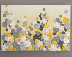 Une nouvelle version de notre populaire pièce texturé jaune et gris, maintenant, y compris une nuance assez aqua!  Ce très grand jaune, peinture gris, aqua et turquoise fait une grande déclaration dans n'importe quelle chambre d'enfant jaune et gris, chambre ou un espace dans votre maison. Un de mes combinaisons de couleurs préférées! Varie du jaune pâle à doré en couleur et est plein de beaucoup de texture empâtement grand (vous pouvez voir un close up de la texture sur la dernière photo)…