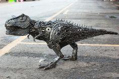 Metal T-rex Sculpture