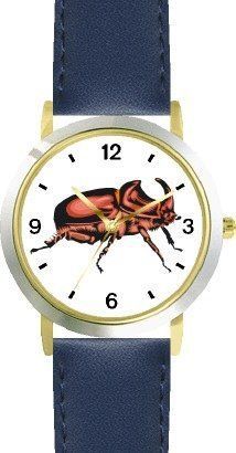 Goliath Giant Beetle Insect - Animal - WATCHBUDDY® DELUXE TWO-TONE THEME WATCH - Arabic Numbers - Blue Leather Strap-Size-Children's Size-Small ( Boy's Size & Girl's Size ) WatchBuddy. $49.95