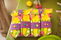 Lalaloopsy birthday napkins I could do this and wrap the utensils in yarn to attach to the napkins