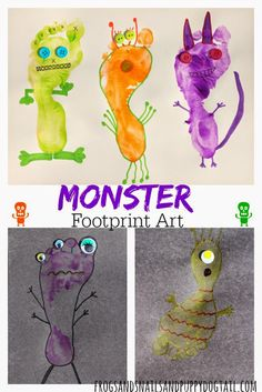 Footprint - letter F & then decorate letter M week (monsters) Monster footprint art from FSPDT