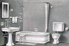 Image result for 1930s bathroom illustration
