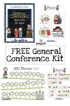 FREE LDS General Conference Activity Packet; Heap a Hoopla, puzzles, games, worksheets, homeschooling, word search, crossword, bingo, don't eat Pete, download