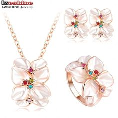 2016 Best Seller Jewelry Set Rose Gold Plate Austrian Crystal Enamel Earring/Necklace/Ring Flower Set Choose Size of Ring ST0002 * You can get more details by clicking on the image.
