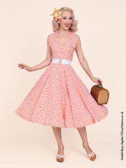 1950s Halterneck Rose Gingham Coral Dress