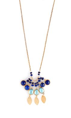 Blue Topaz and Lapis Necklace by Wendy Mink