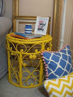 Refurbished 70's Bohemian cane side table by To Beautify Designs.