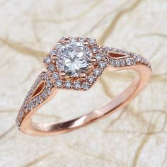 14k Rose Gold Engagement Ring -6 MM Round Forever Brilliant Moissanite Wedding Ring Halo Diamond Ring by EJCOLLECTIONS on Etsy https://www.etsy.com/listing/270254329/14k-rose-gold-engagement-ring-6-mm-round