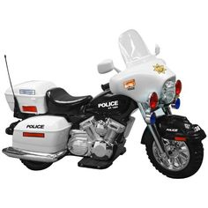 Battery Operated Police Motorcycle by National Products Ltd. $309.99. It's time for some toddler street justice with this 12V Battery Operated Police Motorcycle and its working sound and lights. Children are going to love the hand accelerator parents are going to love the 2 and 4 MPH speeds and one 2 MPH reverse speed. Expect years of fun and photo opportunities with this one. Includes a battery and charger.About National ProductsAs recognized by peers National Products company ...