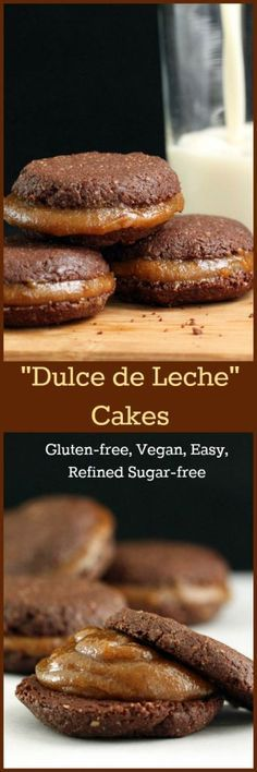 """Nutritionicity   Recipe: """"Dulce de Leche"""" Cocoa Cakes. No cooking required for this Dulce De Leche recipe. Tastes so sweet and creamy you'd never guess it is dairy free, vegan, gluten-free & refined sugar-free. Also the recipe for the rich and delicious easy bake Cocoa Cakes (also gf, v, rsf) to nestle it between. Both recipes in 1 post on http://www.nutritionicity.com/recipes/recipe-dulce-de-leche-cakes-gluten-free-vegan-refined-sugar-free/"""