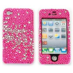 Bling Cell Phone Case for women girls Rose Pink Iphone 4 4g 4s Snap on rhinestone Crystal Cover Bumper Faceplate for At Verizon Sprint & Free Bling Button   #pink #bling #case #iphone