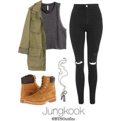 Military/ Army Inspired: Jungkook by btsoutfits on Polyvore featuring H&M, J.Crew, Topshop, Timberland and Pablo
