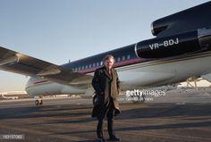 Close-Up Of Donald Trump. Etats-Unis, 15 mars 1990, sur un aéroport, le milliardaire américain de l'immobilier Donald TRUMP pose devant son avion personnel, un Boeing 727.