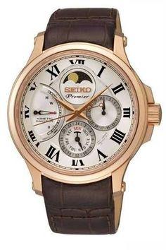 3a87996f9 SEIKO นาฬิกาข้อมือ สีน้ำตาล สายหนังแท้ รุ่น SRX008P1 - รีวิวนาฬิกา Relógios  De