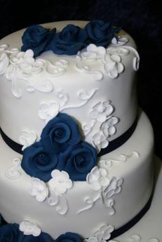 White Wedding Cake With Blue Flowers Cake Pinterest