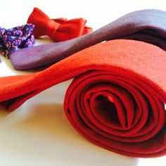 Organic cotton red denim bow tie and purple pattern cotton bow tie will make you stand out from the crowd.