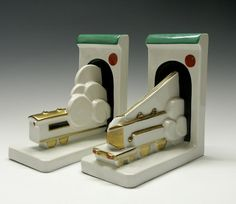 Art Deco Train Bookends. A locomotive and a caboose. Marvelous!
