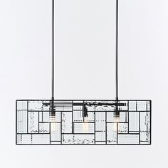 "Dining Table Chandelier - $599 - 32""w x 11""d x 15""h - West Elm Industrial Mixed Glass Pendant, Rectangle, Mixed Glass/Antique Bronze"