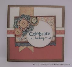 Gorgeous Kraft Card w/Flowers & Buttons! - Clementine papers By: Amy Moore