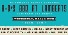 B+Q's BBQ Day Party   Wednesday, March 18, 2015   12-6pm   Lambert's: 401 W. 2nd St., Austin, TX 78701   Live performances by Blank Range, Hippo Campus, Kaleo, Night Terrors of 1997, Public Access TV, Walking Shapes, and Will Bulter; BBQ and beer for purchase   Free; no RSVP required   Details: http://2015.do512.com/bqsbbqdayparty2015