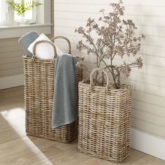 Tall Wicker Storage Basket