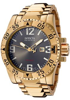 Invicta Men's Reserve Gunmetal Dial Yellow Gold Tone