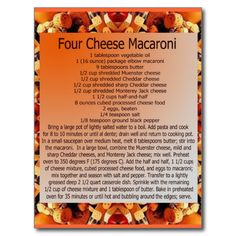 Shop 4 cheese mac postcard created by Personalize it with photos & text or purchase as is! Old Fashioned Brownie Recipe, Brownie Recipes, Cake Recipes, Party Recipes, Fruit Recipes, Cookbook Recipes, Cooking Recipes, Cooking Food, Al Dente