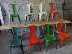 Industriële Tolix stoelen, diverse kleuren - Stalen Tolix stoelen uit Frankrijk, stapelbaar.