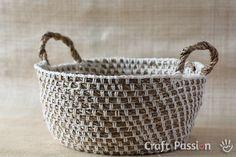 crochet hemp basket