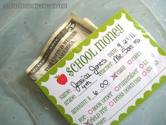 Money labels for field trip, fundraiser etc...