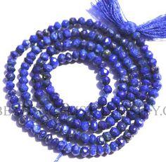 Lapis Lazuli Faceted Roundel (Quality AA+) / 2.5 to 2.8 mm / 36 cm / LA-020 by beadsogemstone on Etsy