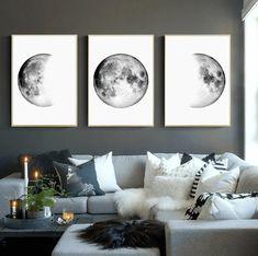 Zestaw plakatów plakaty z księżycem plakaty fazy księżyca | Etsy Nursery Wall Decor, Bedroom Wall, Master Bedroom, Living Room Art, Living Room Modern, White Art, Black And White, Bedroom Posters, Moon Print