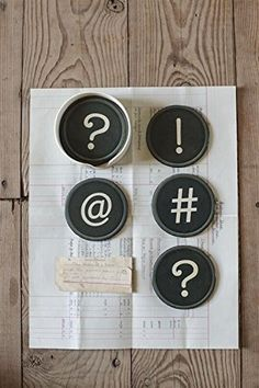 Round Plastic Coasters W/ Typewriter Symbols Punctuations & Holder Set Of 7 Country Home Office Desk Décor null